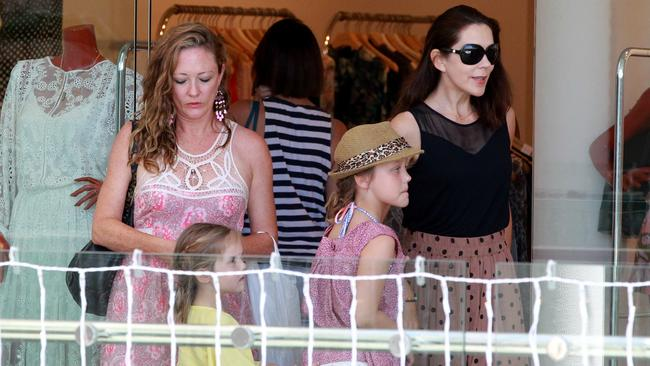 Princess Mary with daughters at Marina Mirage shopping centre yesterday. Pic: Mike Batterham