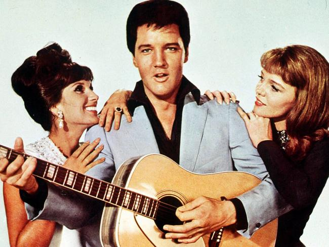 Elvis Presley is seen here in the film Double Trouble with Annette Day and Yvonne Romain. Picture: Supplied