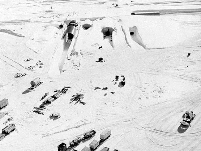 An aerial shot of the camp that was designed to test whether a missile could be fired from the Arctic during the Cold War. Picture: Image: U.S. Army Cold Regions Research and Engineering Laboratory via University of Zurich.
