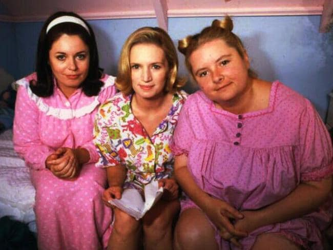 Gina Riley, Jane Turner, Magda Szubanski in a scene from Big Girls Blouse in 1998.