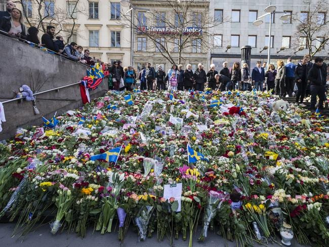 Flowers left after the Sweden truck attack in Stockholm. Picture: Getty