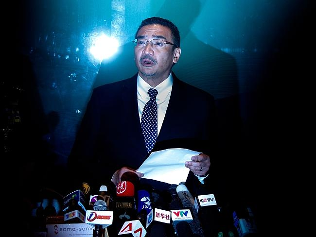 Malaysia's acting transport minister, Hishammuddin Hussein speaks to the media.