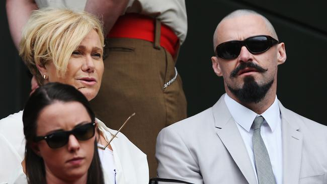 Hugh Jackman and his wife Deborra-Lee Furness check out the Men's Singles Final. Photo: Matthew Stockman.
