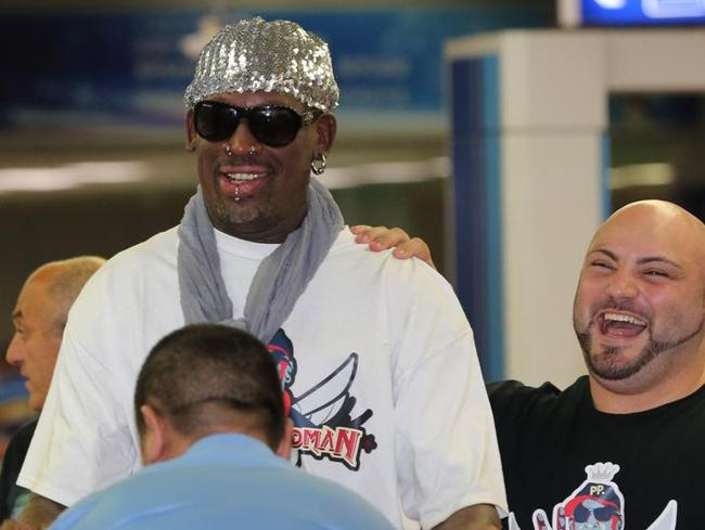In this file photo, Dennis Rodman arrives at Beijing Capital International Airport on his way back home after a five-day visit to North Korea. Picture: AP.