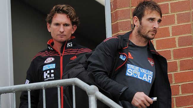 Essendon coach James Hird and captain Jobe Watson leave Windy Hill today.