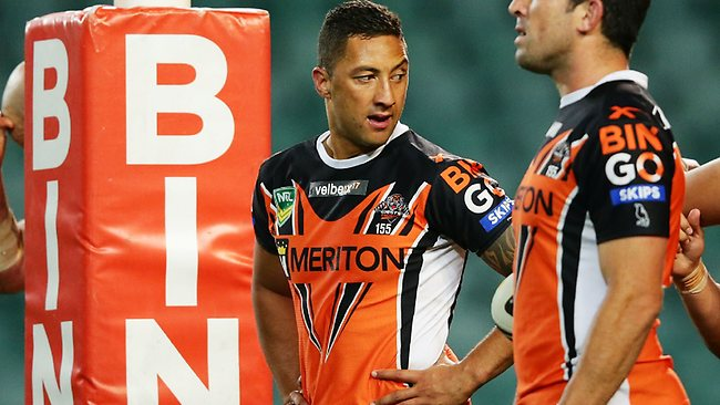 Benji Marshall looks on after the Tigers concede a try. Photo by Matt King/Getty Images