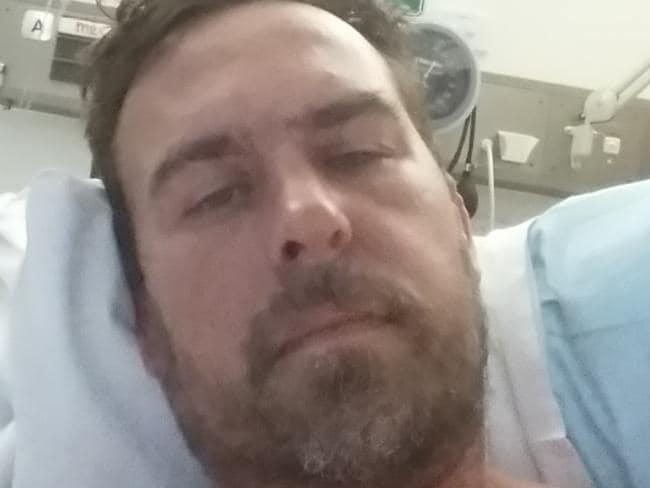 Paul Denys following a 10-hour emergency stomach reconstruction he had to have on Christmas Eve as a result of a two-decade addiction to painkillers. Picture: Paul Denys