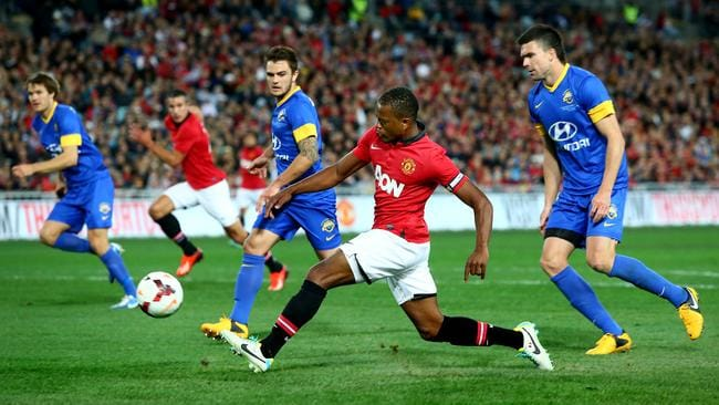 Patrice Evra has a shot on goal against last year's All Stars.
