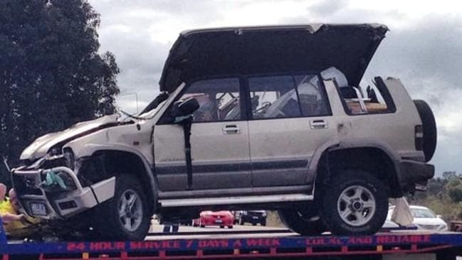 The scene of a caravan versus truck crash on Brand Highway. Picture: Nine News