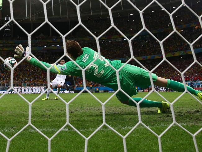 Tim Krul of the Netherlands saves a penalty by Michael Umana of Costa Rica in the World Cup quarter-final shootout.