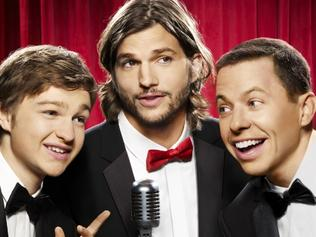 16/09/2011 NEWS: Actors (L-R) Angus T Jones, Ashton Kutcher and Jon Cryer in a promotional shoot for TV series 'Two And A Half Men'.