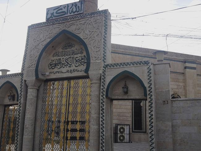 The gate of the Great Mosque or al-Nuri Mosque. Picture: AP
