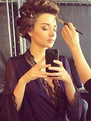 "Australian model Miranda Kerr snaps a selfie, ""Love from set today"". P..."