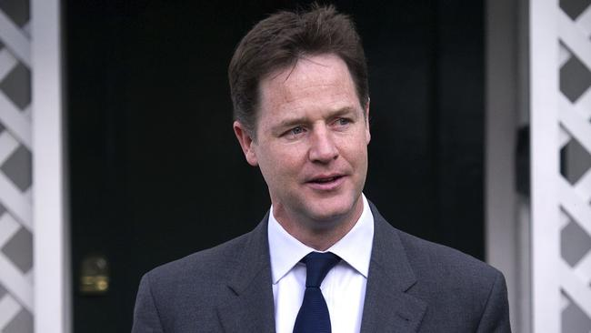 Not budging ... Britain's Deputy Prime Minister and leader of the Liberal Democrat party, Nick Clegg, refuses to stand down. Picture: AFP
