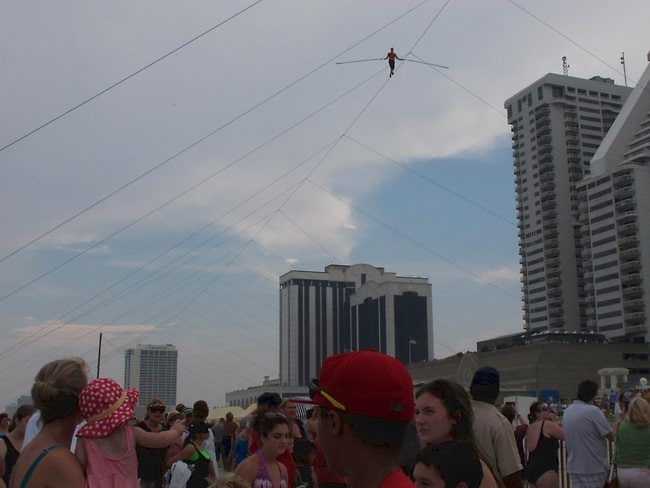 A crowd watches as Wallenda walks the tightrope. Picture: AP