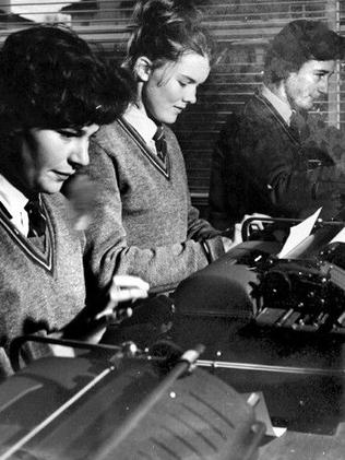 Brighton Secondary College student learn to master the typewriter. Picture: Herald Sun Image Library