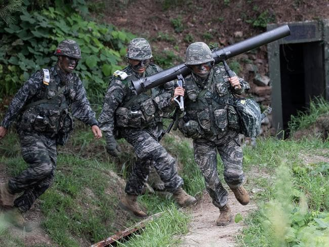 South Korean marines participate in an exercise on Baengnyeong Island, South Korea. Picture: Getty
