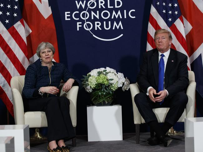 The meeting between the two leaders is the first time they've met face-to-face since Mr Trump shared controversial anti-Muslim videos on Twitter. (AP Photo/Evan Vucci)