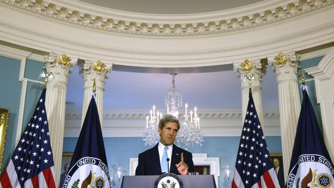 Secretary of State John Kerry makes a statement about Syria at the State Department in Washington, Friday, Aug. 30, 2013. Kerry said the U.S. knows, based on intelligence, that the Syrian regime carefully prepared for days to launch a chemical weapons attack. (AP Photo/Charles Dharapak)