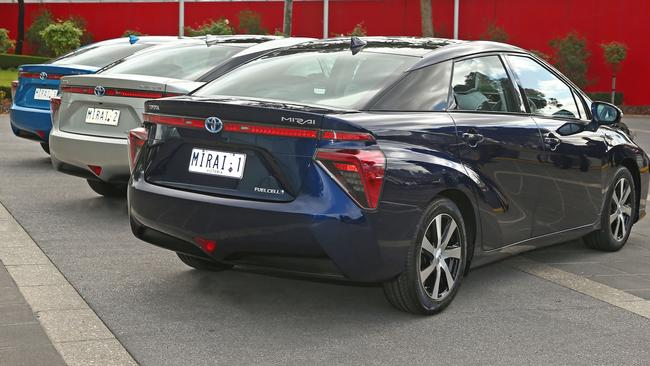 The Toyota hydrogen cars will soon be joined by a mobile refueller. Picture: Supplied.