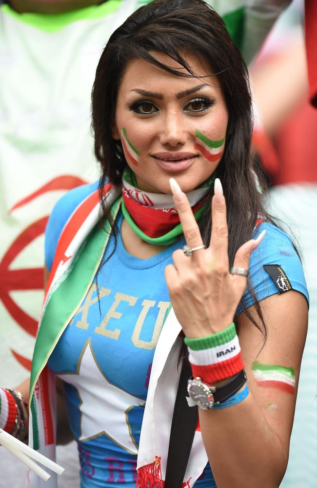 A fan of Iran gestures during a Group F football match between Bosnia-Herzegovina and Iran.