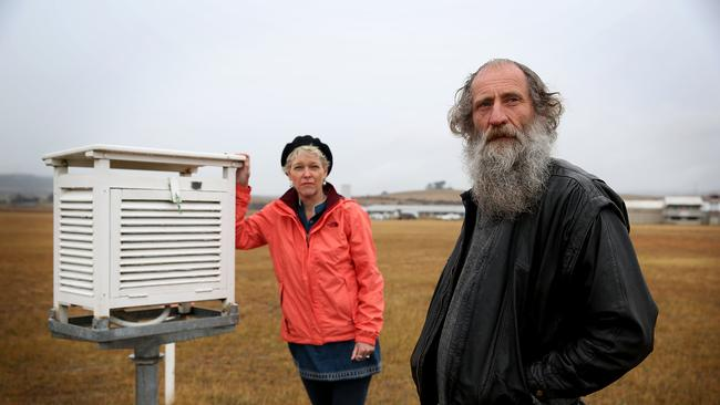 Scientist Jennifer Marohasy and amateur meteorologist Lance Pidgeon at the Goulburn airport weather station that recorded minus 10.4C on July 2. Picture: Jane Dempster