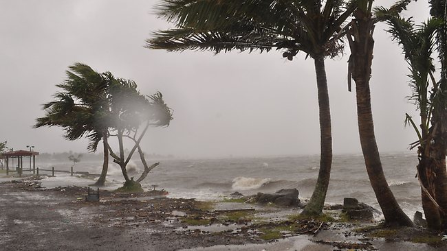 The shoreline is lashed during Tropical Cyclone Evan in Suva, Fiji. Picture: AFP