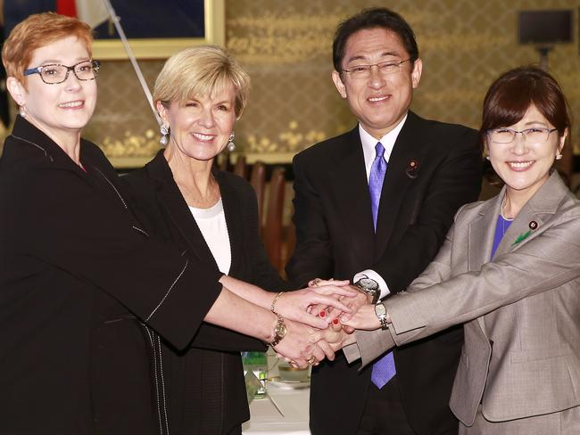 Australian Defence Minister Marise Payne, left, Australian Foreign Minister Julie Bishop, second left, Japanese Foreign Minister Fumio Kishida, second right, and Defence Minister Tomomi Inada. Picture: AP/Shizuo Kambayashi