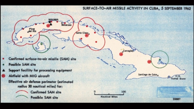 This map of Cuba was drawn in 1962 ahead of the Cuban missile crisis. Picture: CIA