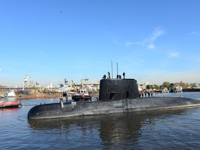 "Handout picture taken in 2014 and released by the Argentine Navy on November 18 showing submarine ARA San Juan docked in Buenos Aires. Argentina's navy is hunting for one of its submarines which has been reported missing in the South Atlantic with a crew of 44 on board. / AFP PHOTO / ARGENTINE NAVY / Handout / RESTRICTED TO EDITORIAL USE - MANDATORY CREDIT ""AFP PHOTO / ARGENTINE NAVY / HO"" - NO MARKETING NO ADVERTISING CAMPAIGNS - DISTRIBUTED AS A SERVICE TO CLIENTS"
