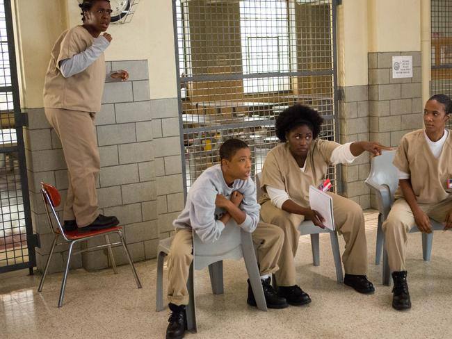 Orange stars ... Uzo Aduba, Samira Wiley, Danielle Brooks and Vicky Jeudy in a scene from Orange is the New Black Season 2.