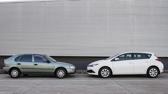 Before the crash: the two Corollas offer vastly different protection.