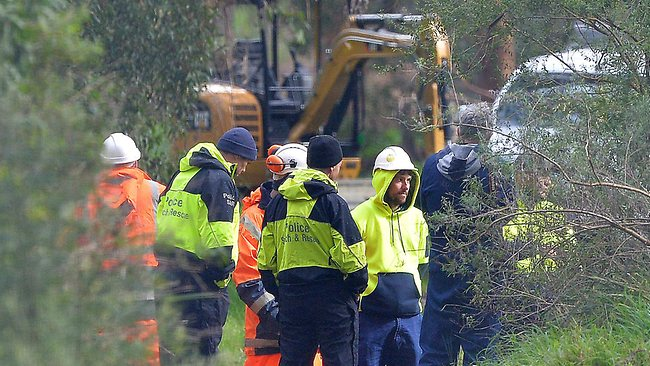 An excavator can be seen as part of the extensive search of Old Joe's Creek by police for clues in the Siriyakorn 'Bung' Siriboon case. Picture: Nicole Garmston
