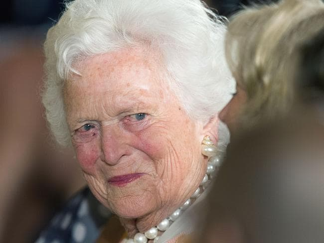 Former First Lady Barbara Bush is in 'great spirits' after deciding against seeking medical treatment to prolong her life, her granddaughter said today. Picture: AFP Photo/Jim Watson