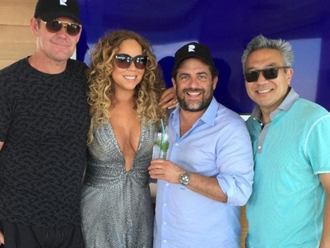 James Packer, Mariah Carey, Brett Ratner and Kevin Tsujihara in Cannes. Picture: Instagram