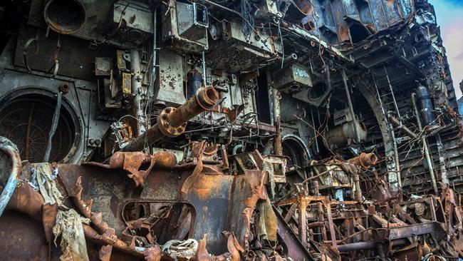 Outside of the rusting ships abandoned on the coast of the Baltic Sea. Picture: Vladimir Mulder/Caters News