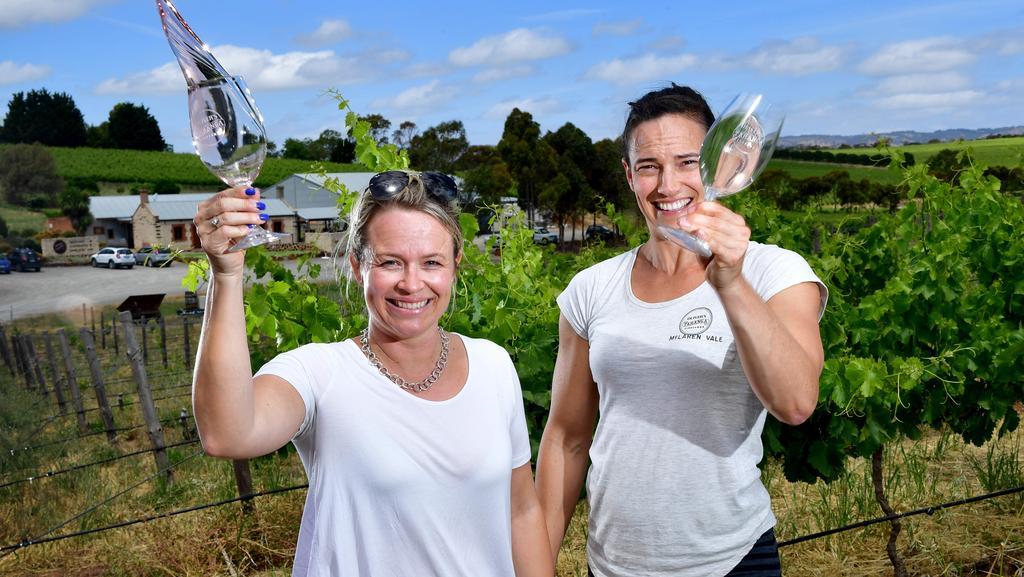 Corrina Wright and Brioni Oliver, of Oliver's Taranga Vineyards at McLaren Vale. Picture Mark Brake