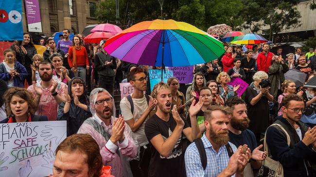 Protesters attend the Hands Off Safe Schools rally in Melbourne. Picture: Chris Hopkins/Getty