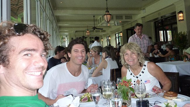 Trent Martin, 33, Sydney financial analyst facing insider trading charges in New York. Martin (middle) with a friend and (left) and an aunt at lunch in Central Park, New York. Pictures: MySpace/Facebook