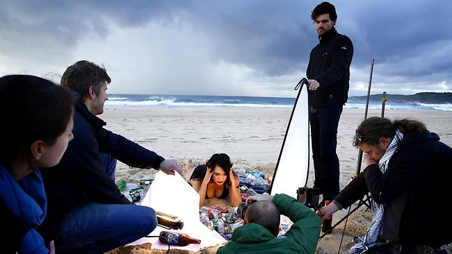 Model, Laura Wells during a photo shoot for Greenpeace on Maroubra beach. Picture: Bradley Hunter
