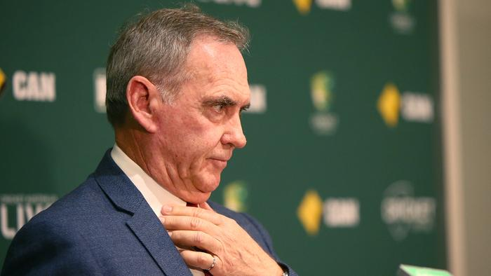 ADELAIDE, AUSTRALIA — NOVEMBER 20: Interim Chairman of Selectors Trevor Hohns speaks to the media during a Cricket Australia press conference at Adelaide Oval on November 20, 2016 in Adelaide, Australia. (Photo by Morne de Klerk/Getty Images)