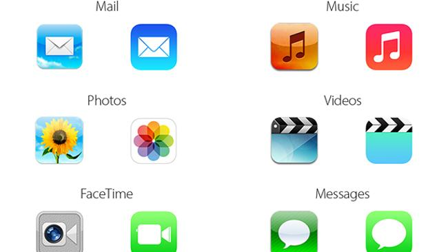 The iOS 6 iPhone and iPad icons vs iOS 7. Picture: Mashable