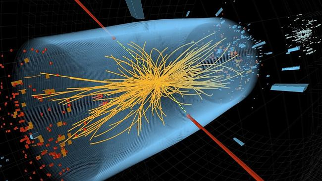 An image depicting the moment of collision between two protons (depicted by red lines) in the search for the Higgs boson. The yellow lines are the measured tracks of other particles produced in the collision. (AP Photo/CERN, File)