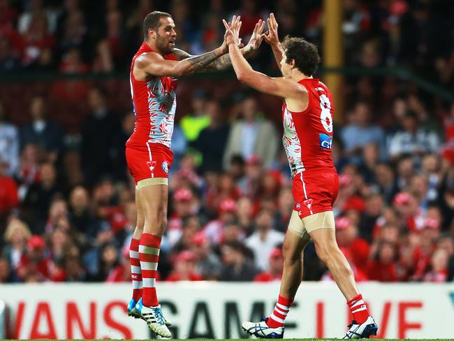 Forwards Lance Franklin and Kurt Tippett celebrate another Swans goal. Picture: Toby Zerna