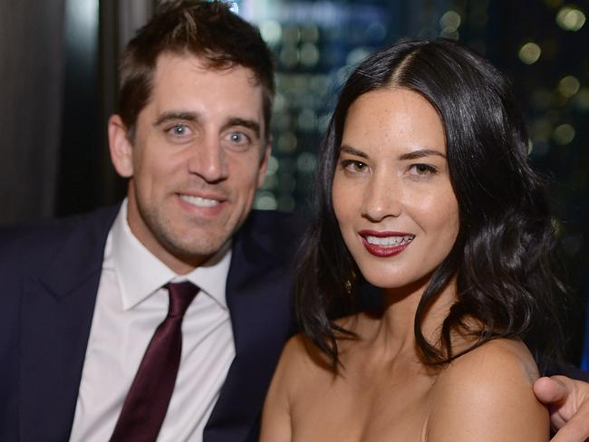 Engaged ... Aaron Rodgers and Olivia Munn. Picture: Getty