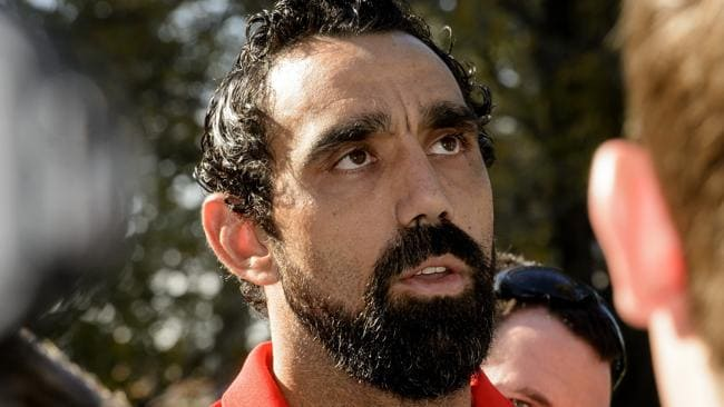 Adam Goodes addresses the media after the racial slur incident involving a 13-year old Collingwood fan.