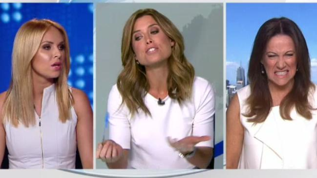 Amber Sherlock berates newsreader Julie Snook for wearing white. Picture: Channel 9