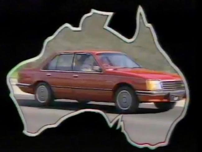 """Screen shots from Holden's """"Football, meat pies, kangaroos and Holden cars"""" TV ad in the 1970s."""