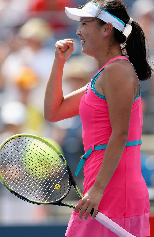 Peng Shuai of China celebrates.