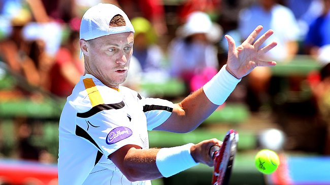 Lleyton Hewitt on his way to defeating Tomas Berdych at Kooyong. Picture: Wayne Ludbey